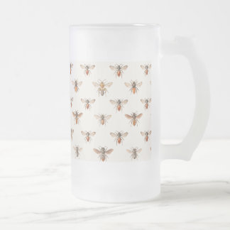 Vintage Bee Illustration Pattern Frosted Glass Beer Mug