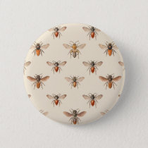 Vintage Bee Illustration Pattern Pinback Button
