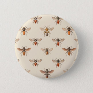 Vintage Bee Illustration Pattern Pinback Button
