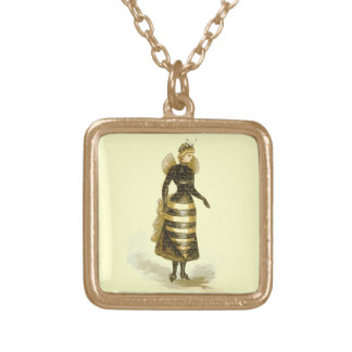 Vintage Bee Lady Gold Plated Necklace