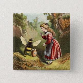 Vintage Bee Little Girl Honey Pot Button