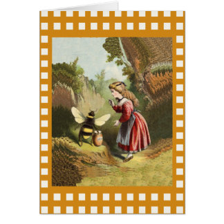Vintage Bee Little Girl Honey Pot Card