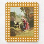 Vintage Bee Little Girl Honey Pot Mouse Pad