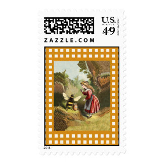 Vintage Bee Little Girl Honey Pot Postage Stamps