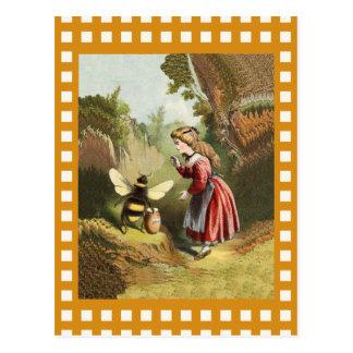 Vintage Bee Little Girl Honey Pot Postcard