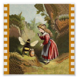 Vintage Bee Little Girl Honey Pot Poster