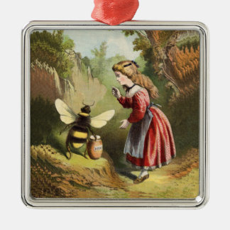 Vintage Bee Little Girl Honey Pot Square Metal Christmas Ornament