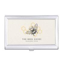 Vintage Bee Logo Rustic Honeybee Beekeeper Business Card Case