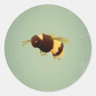 Vintage Bee On Green Background Pattern Classic Round Sticker