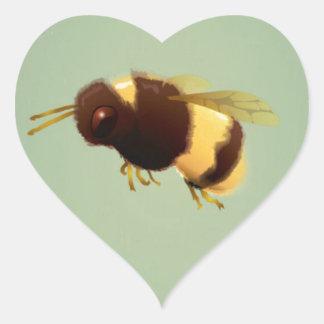 Vintage Bee On Green Background Pattern Heart Sticker