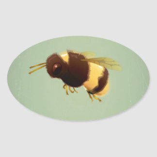Vintage Bee On Green Background Pattern Oval Sticker