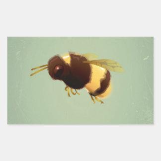 Vintage Bee On Green Background Pattern Rectangular Sticker