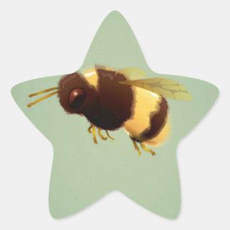 Vintage Bee On Green Background Pattern Star Sticker