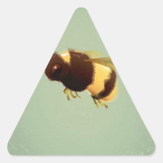 Vintage Bee On Green Background Pattern Triangle Sticker