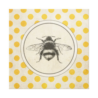 Vintage Bee on Yellow Dots Canvas Print