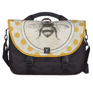 Vintage Bee on Yellow Dots Laptop Commuter Bag