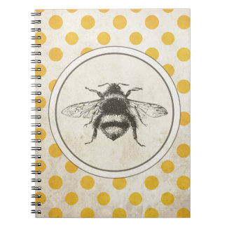 Vintage Bee on Yellow Dots Notebook