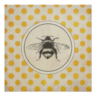 Vintage Bee on Yellow Dots Poster