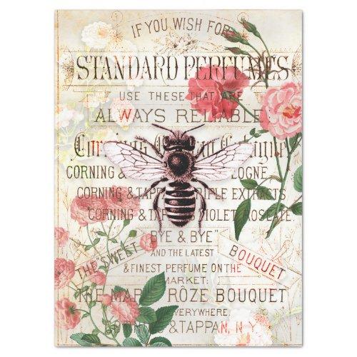 Vintage Bee Rose Bouquet Ephemera Decoupage Tissue Paper