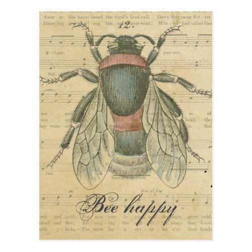 Vintage Bee Sheet Music Notes Bee Happy Customized
