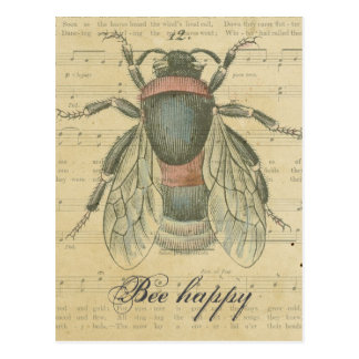 Vintage Bee Sheet Music Notes Bee Happy Customized Postcard