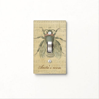 Vintage Bee Sheet Music Notes Personalized Name Switch Plate Cover