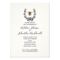 vintage bee SPRING GARDEN WEDDING plum yellow Invitation