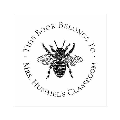 Vintage Bee Teacher Bookplate Label Rubber Stamp