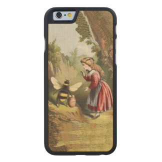 Vintage Bee Victorian Girl Honey Pot Forest Carved Maple iPhone 6 Slim Case