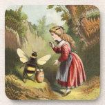 Vintage Bee Victorian Girl Honey Pot Forest Coaster
