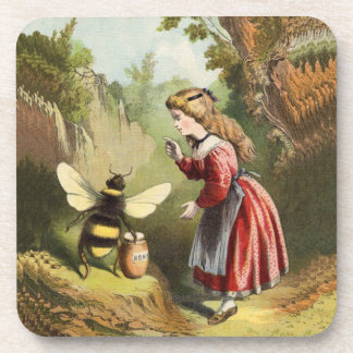 Vintage Bee Victorian Girl Honey Pot Forest Coaster