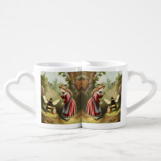 Vintage Bee Victorian Girl Honey Pot Forest Couples Coffee Mug