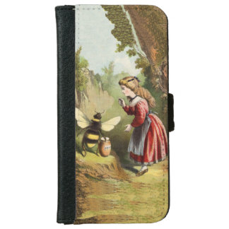 Vintage Bee Victorian Girl Honey Pot Forest iPhone 6/6s Wallet Case