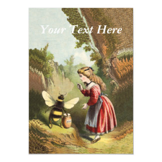 Vintage Bee Victorian Girl Honey Pot Forest Magnetic Card