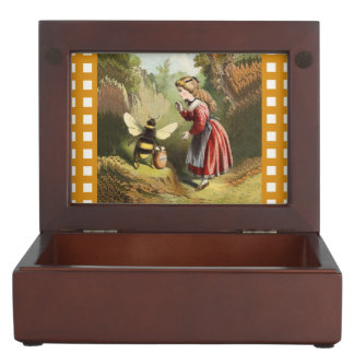 Vintage Bee Victorian Girl Honey Pot Forest Memory Box