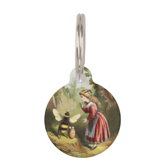 Vintage Bee Victorian Girl Honey Pot Forest Pet Name Tag
