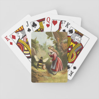 Vintage Bee Victorian Girl Honey Pot Forest Playing Cards