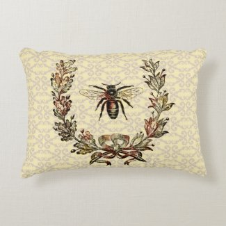 Vintage Bee Wreath Accent Pillow