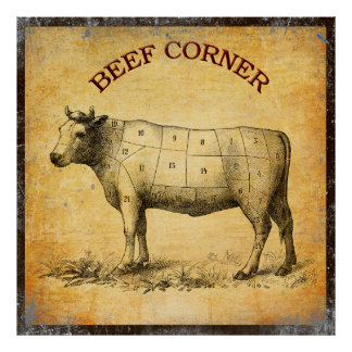 vintage beef chart with numbered cuts