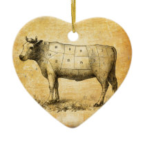 vintage beef chart with numbered cuts ceramic ornament