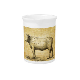 vintage beef chart with numbered cuts drink pitcher