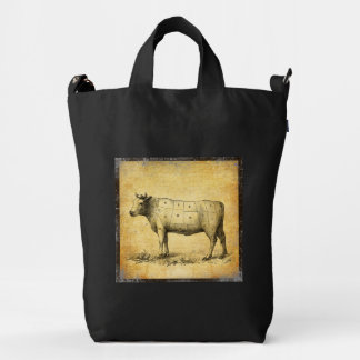 vintage beef chart with numbered cuts duck bag