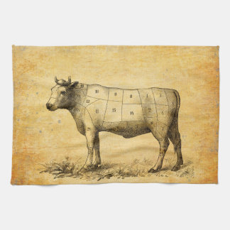 vintage beef chart with numbered cuts hand towel