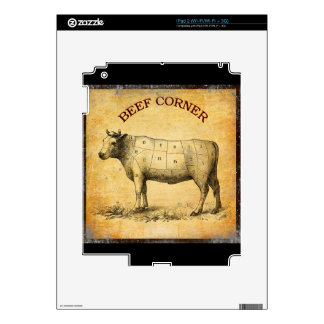 vintage beef chart with numbered cuts iPad 2 decals