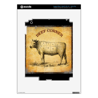 vintage beef chart with numbered cuts iPad 3 skins