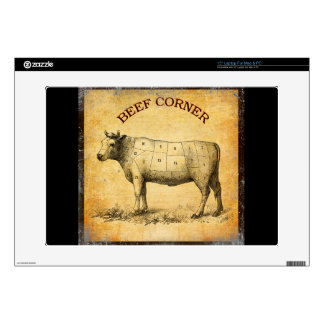 vintage beef chart with numbered cuts laptop skins