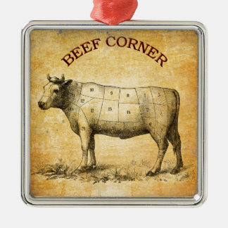 vintage beef chart with numbered cuts metal ornament
