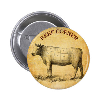 vintage beef chart with numbered cuts pinback button