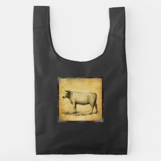 vintage beef chart with numbered cuts reusable bag