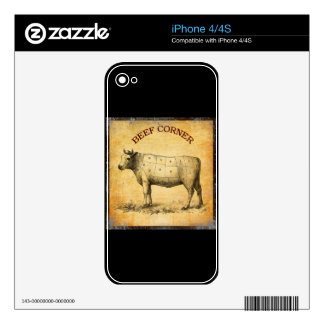 vintage beef chart with numbered cuts skin for the iPhone 4